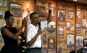 Obama feels 'small' compared with members of US Marines